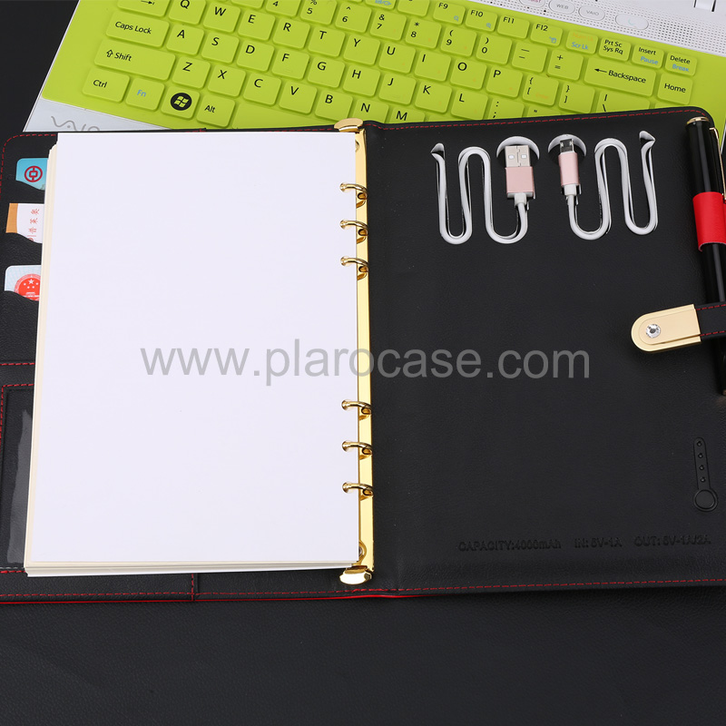 a5 power bank diary with USB 2 cables design 4