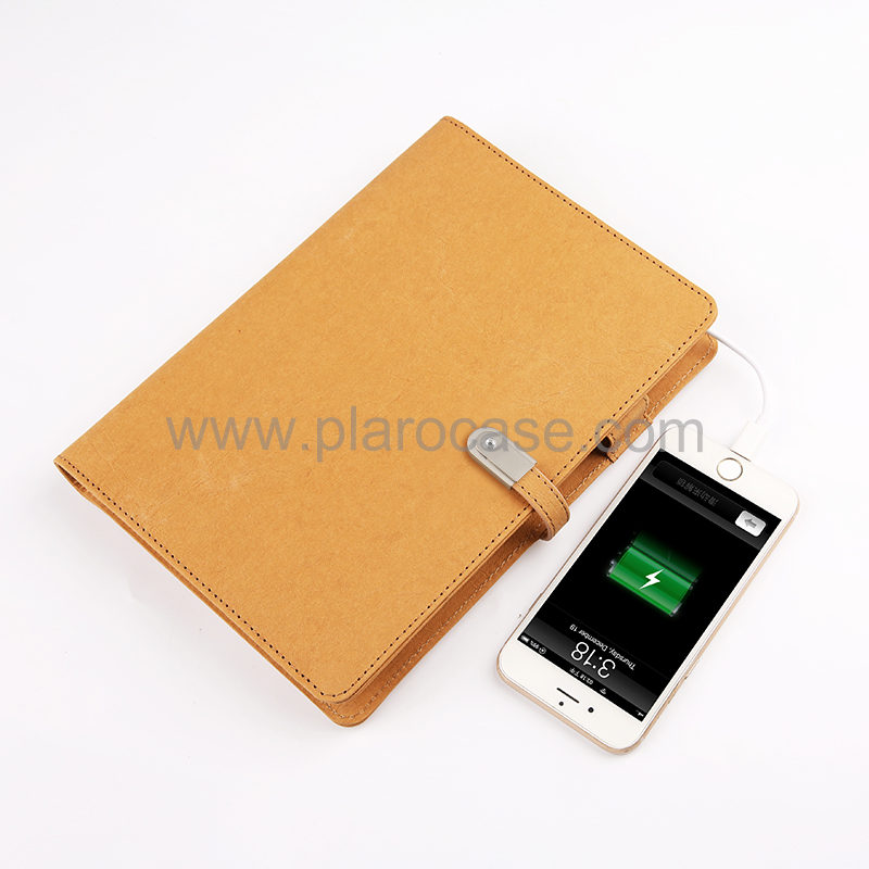 Kraft Paper Cover A5 Power Bank Notebook with USB and Type-C Adapter