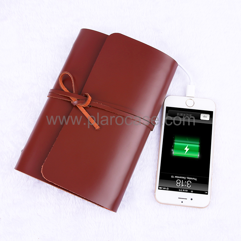 A6 Real Leather Notebook with Power Bank