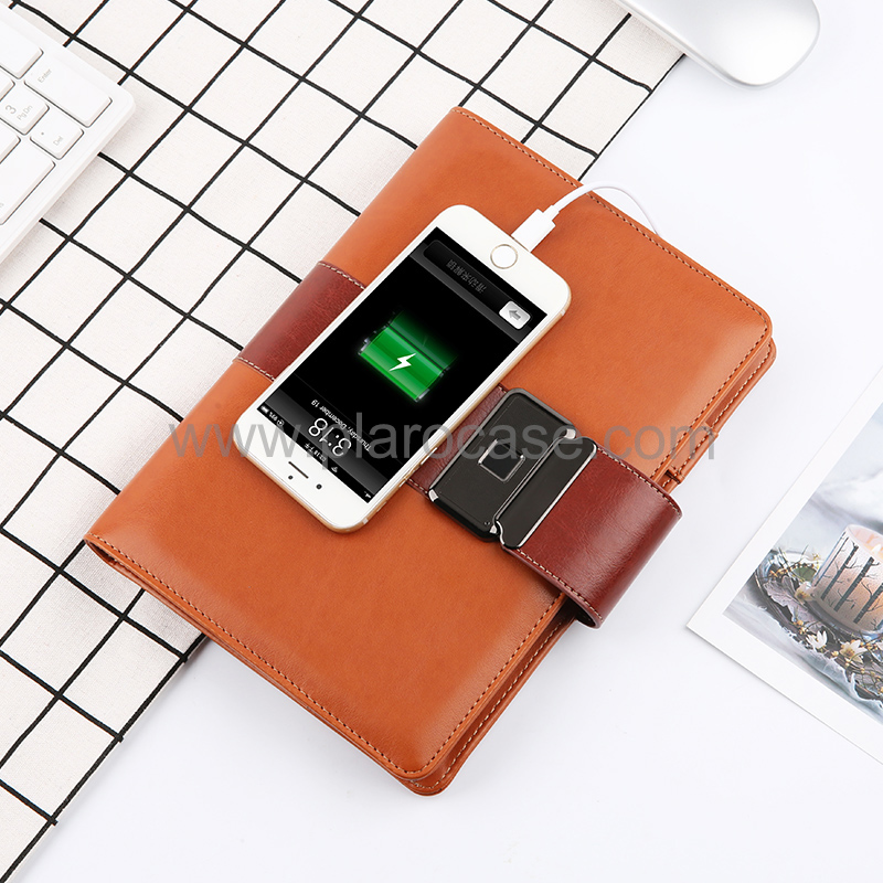 A5 Power Bank Notebook with Fingerprint Lock and Type-C Adapter