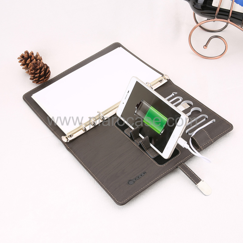 A5 Power Bank Notebook with USB Memory and Phone Stand