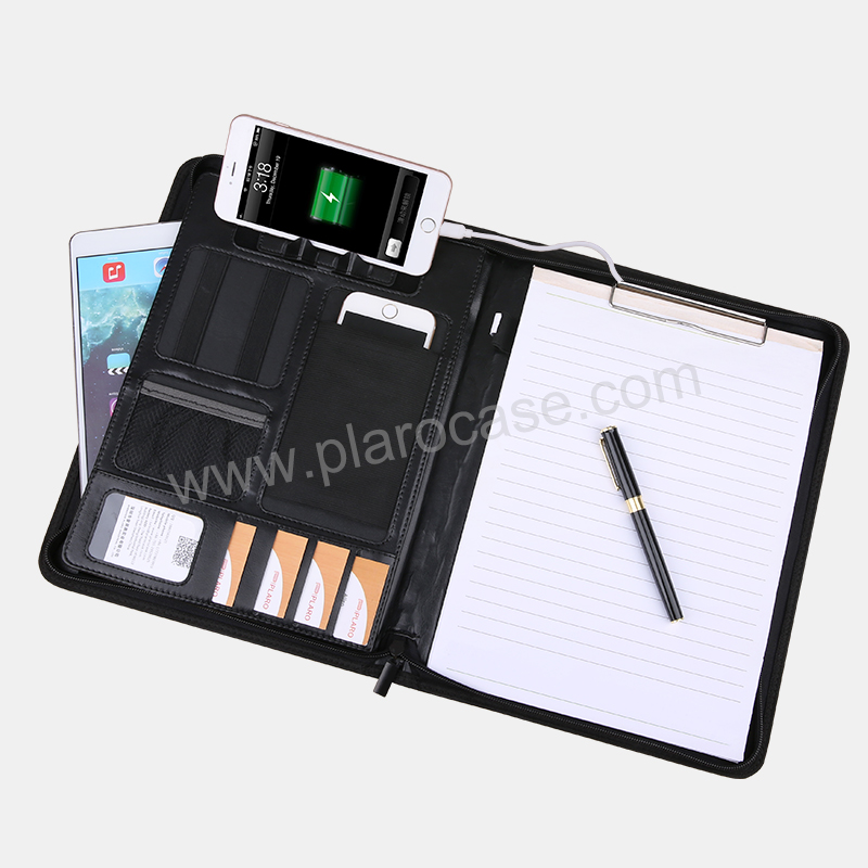 A4 Size Leather Portfolio with Powerbank and multifunction