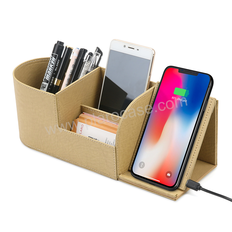 PU Leather Office Desk Organizer with Wireless Charger Phone Holder