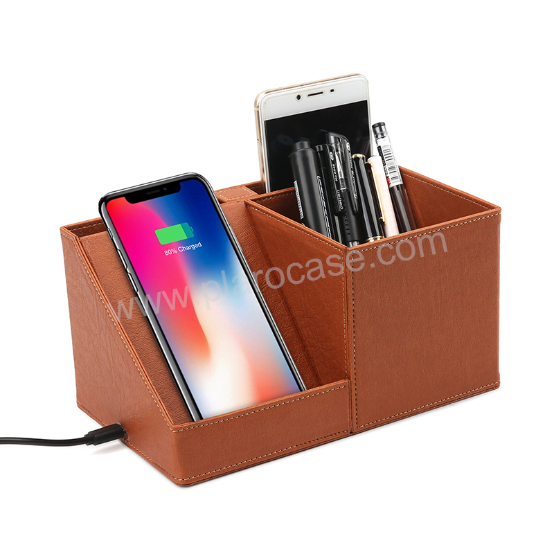 Custom PU Leather Office Pen Stand with Wireless Charger Phone Holder