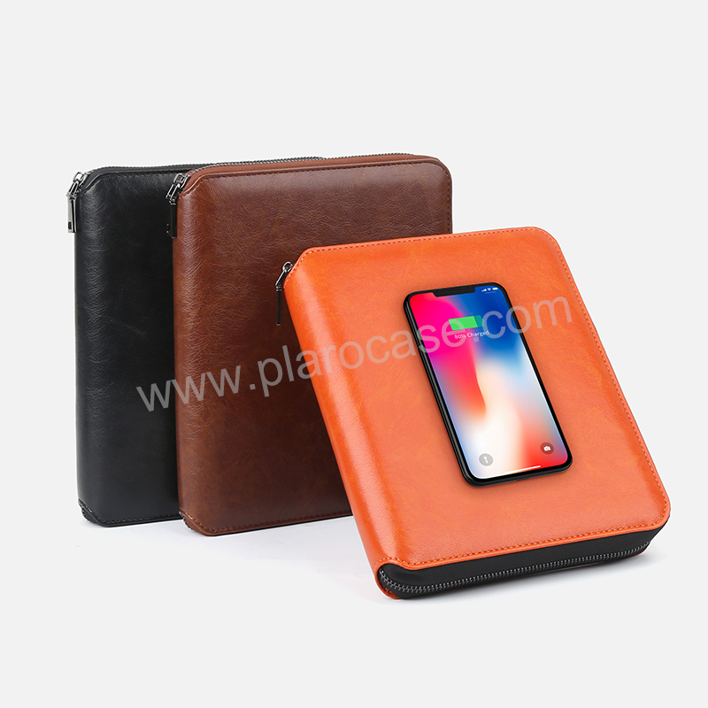 A5 Zipper Notebook with Power Bank+Wireless Charger +Phone Stand