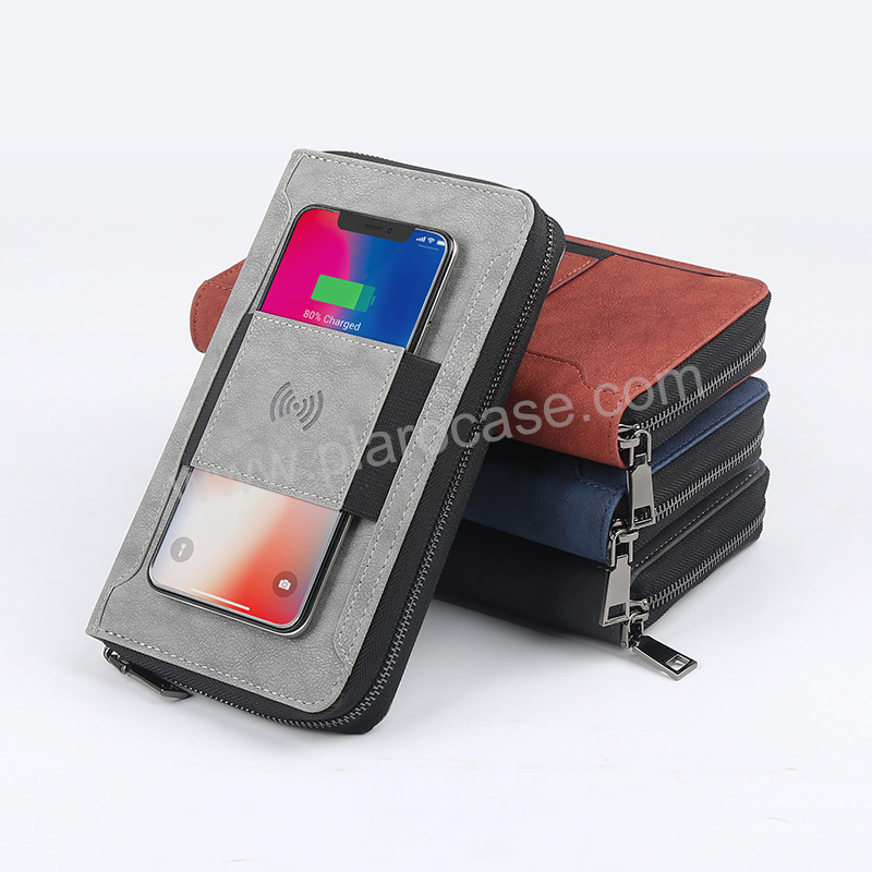 Multifunctional Passport Holder with wireless charger and Power Bank and Phone Pocket