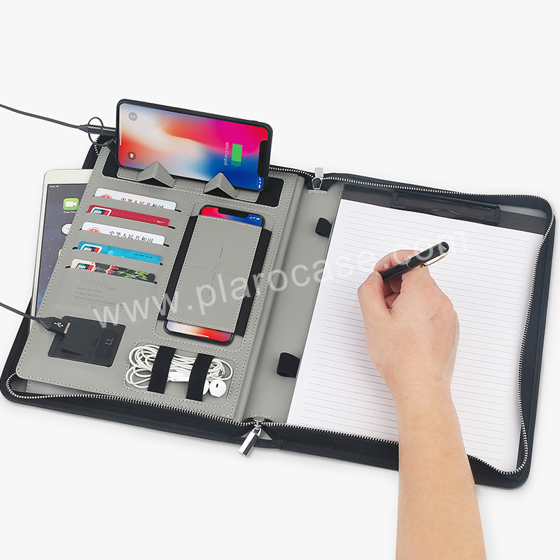 A4 Size Leather Portfolio with Power Bank+Wireless Charger+Phone Stand