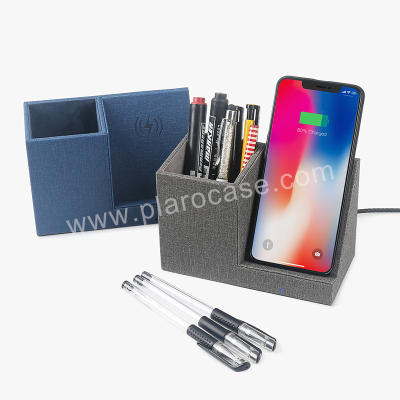 Leather Pen Holder with Wireless charger
