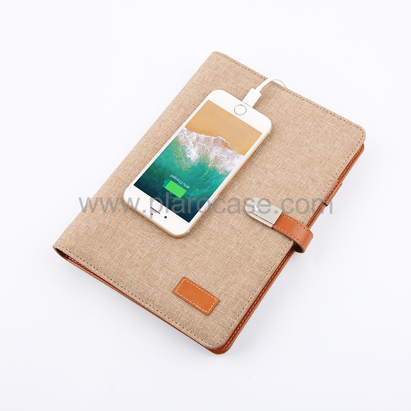 Linen Cover A5 Power Bank Notebook with USB Memory