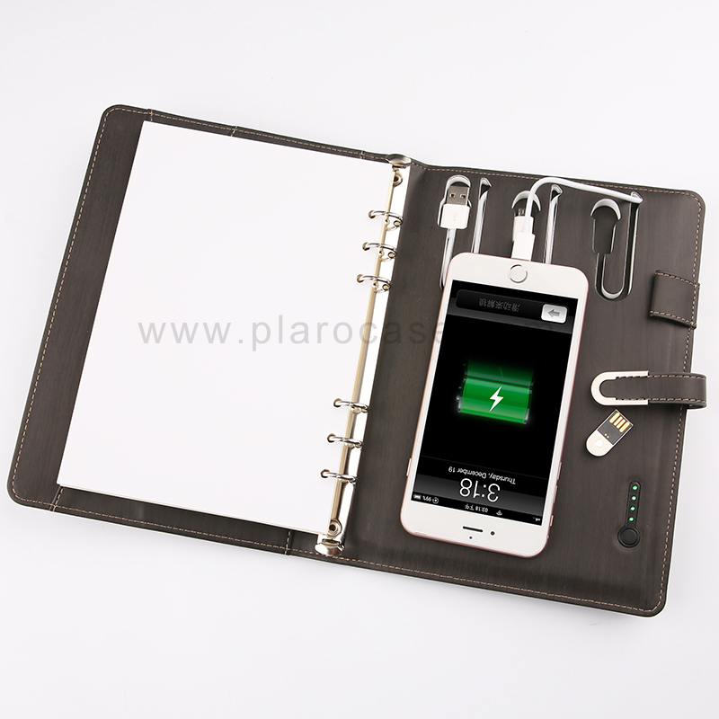 A5 Power Bank Notebook with USB Flash Drive