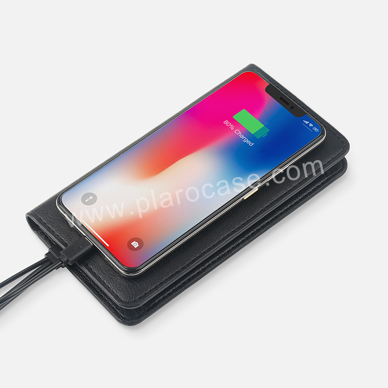 Wireless Charger Wallet with 4000mah Power Bank