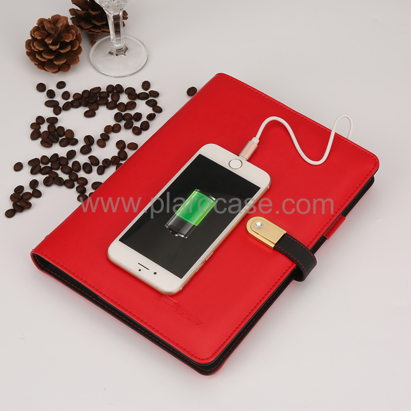 A5 Power Bank Notebook with USB Memory 2 Cables Design