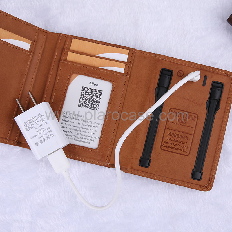 Wallet with power bank 4000mah 6
