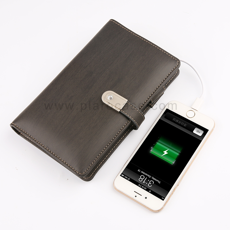A6 Power Bank Notebook with USB Memory 3 Cables Design
