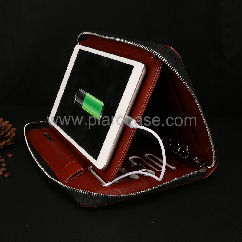 a5 power bank diary zipper lock with ipad mini holder 1